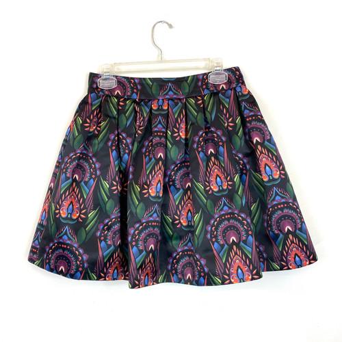 Alice + Olivia Printed Pleated Mini Skirt- Front