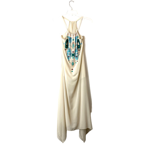 Beaded Halter Maxi Dress- Front