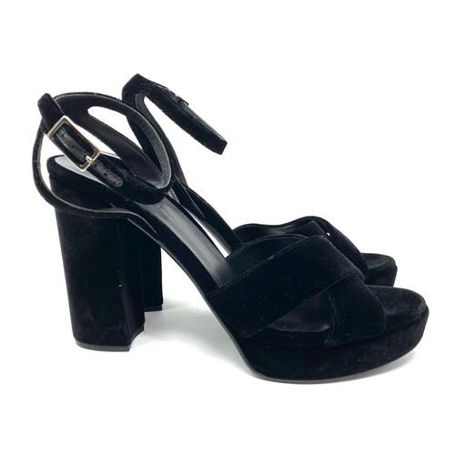 M. Gemi Velvet Open Toe Platform Sandals- Right