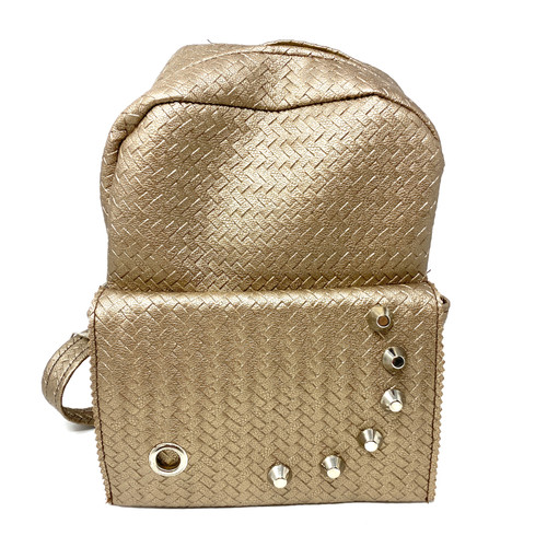 Metallic Woven Mini Backpack- Front