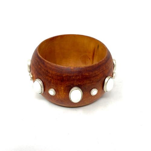 Embellished Wooden Bangle- Front