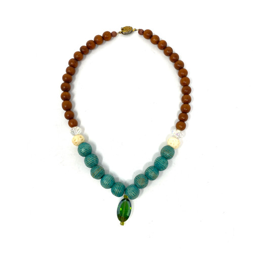 Crystal Accent Wooden Bead Necklace- Front