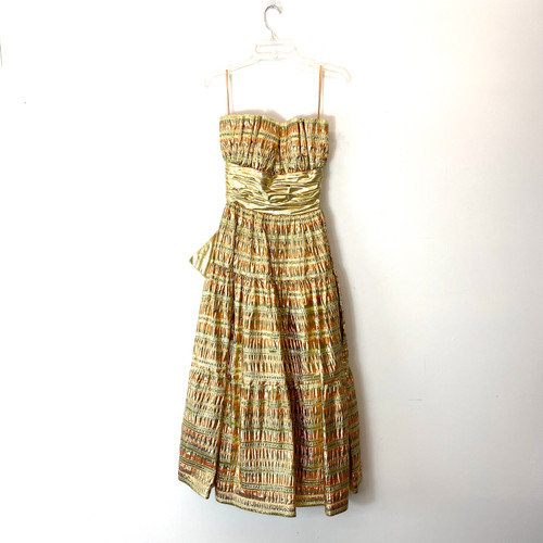 Vintage Victor Costa Metallic Striped Gown- Front