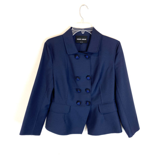 Vintage Early Aughts Giorgio Armani Corded Button Blazer- Front