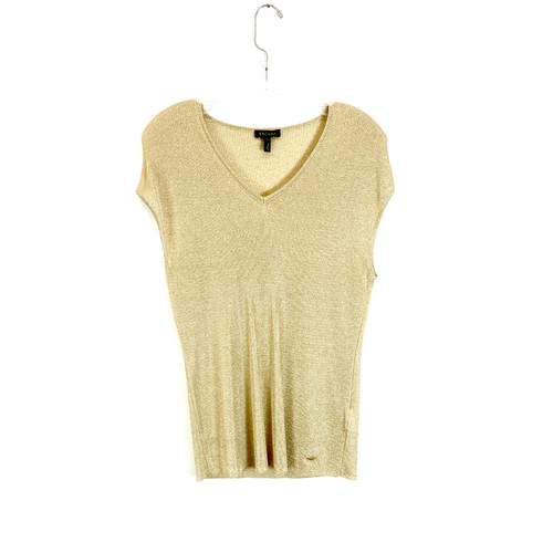 Escada Metallic Knit V-Neck Tank- Front