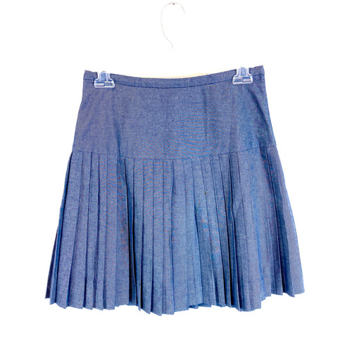 J. Crew Pleated Denim Mini Skirt- Front