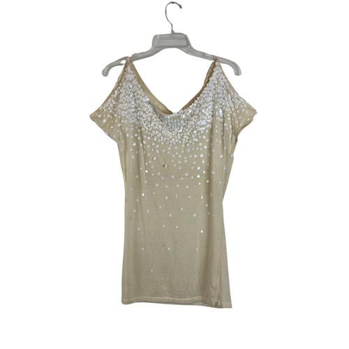LaRok Sequined Cashmere T-Shirt- Front