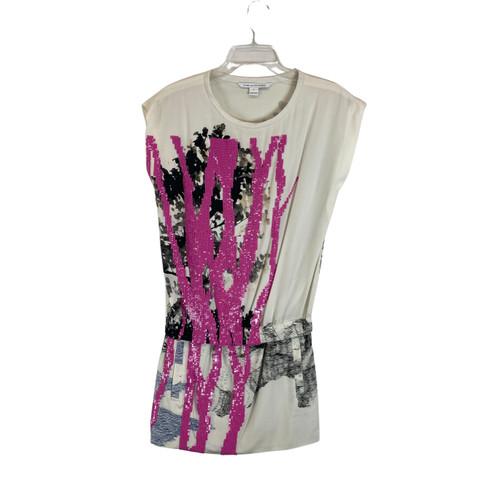 Diane von Furstenburg Sequined Graphic Mini Dress- Front