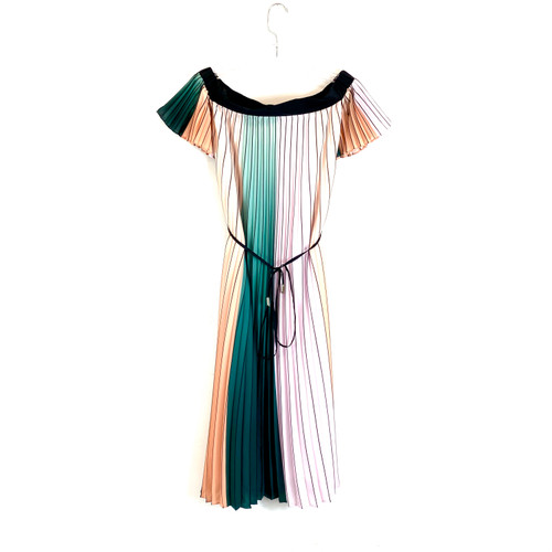 Ted Baker Off the Shoulder Pleated Midi Dress- Front