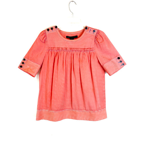 Marc by Marc Jacobs Striped Button Shoulder Top- Front