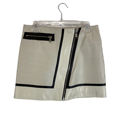 Andrew Marc Perforated Leather Mini Skirt- Front