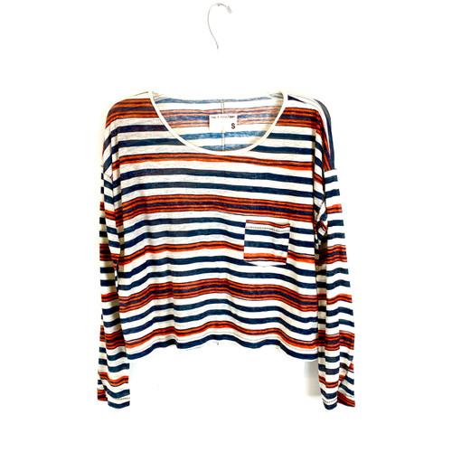 Rag & Bone Mixed Stripe Long Sleeve T-Shirt- Front