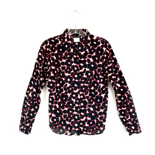 agnes b. Graphic Flower Print Button Down Shirt- Front
