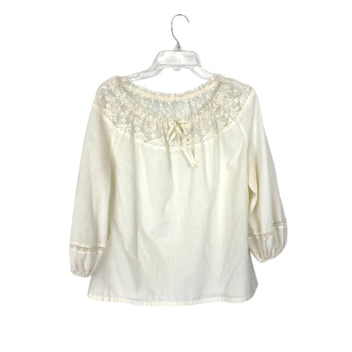 Vintage Puff Sleeve Lace Collar Blouse- Front