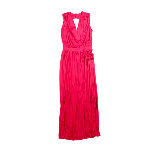Vintage 70's Ruby Deep V Maxi Dress-Front