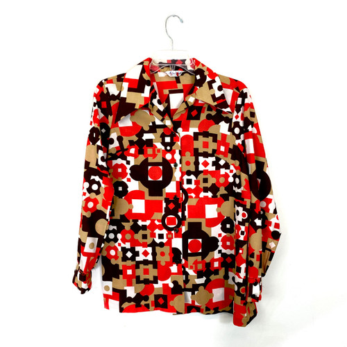 Vintage 70's Red and Brown Graphic Button Down- Front