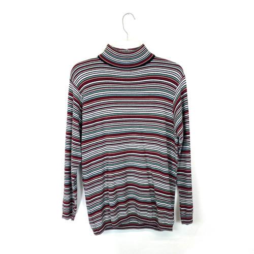 Vintage Candy Stripe Turtleneck Sweater- Front