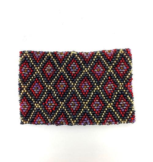 Diamond Pattern Wide Beaded Bracelet- Front