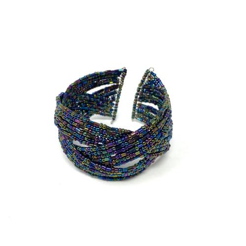 Iridescent Braided Bead Cuff- Front