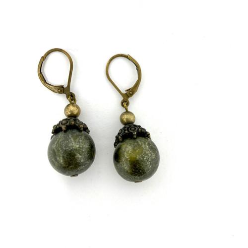 Dark Green Ball Drop Earrings- Thumbnail