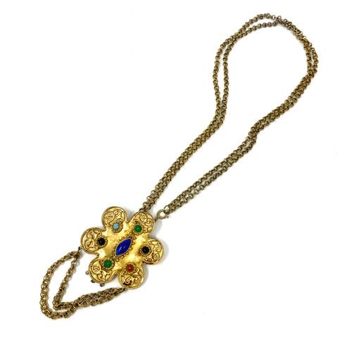 Vintage Byzantine Revival Pendant Necklace- Front