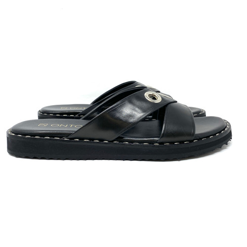 Onto Mountain Black Leather Sandal- Right