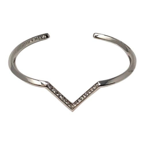 Karen Millen Angle Crystal Skinny Cuff In Silver