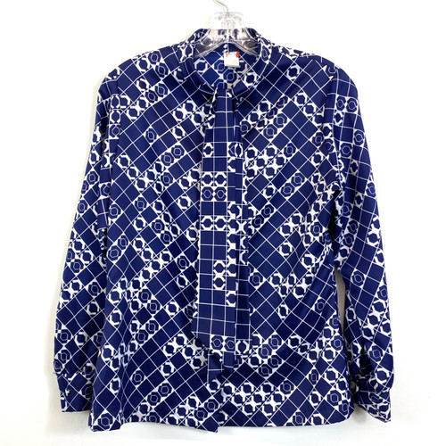 Vintage Hexagon Print Tie Neck Blouse- Front