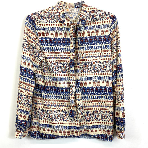 Vintage Adrianne Ross Tie Neck Printed Blouse- Front