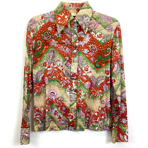 Vintage Lotus Flower Printed Button Down- Front
