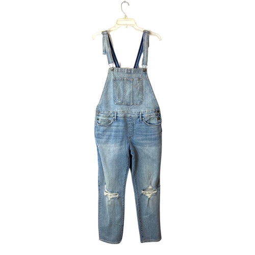 Silver Jeans Co. Light Wash Relaxed Skinny Fit Overalls- Front