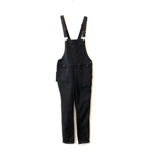 Silver Jeans Co. Black Skinny Fit Overalls- Front