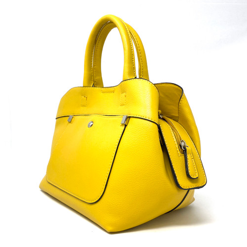 Yellow Tri-Compartment Top Handle Satchel- Thumbnail