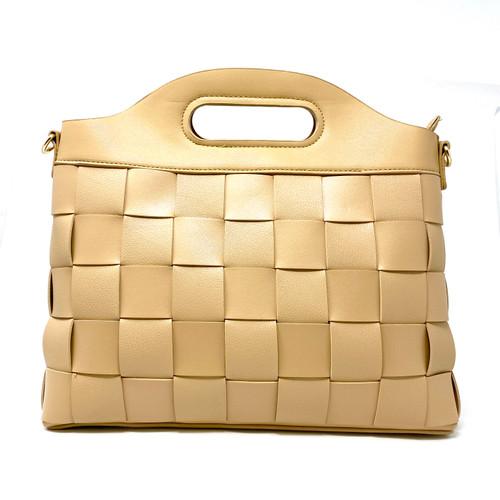 Beige Structured Woven Handbag- Thumbnail