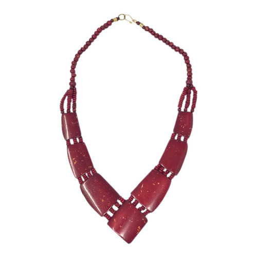 Red Wooden Statement Necklace- Front