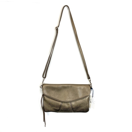 LP Blue Vegan Metallic Zip Crossbody Bag- Thumbnail