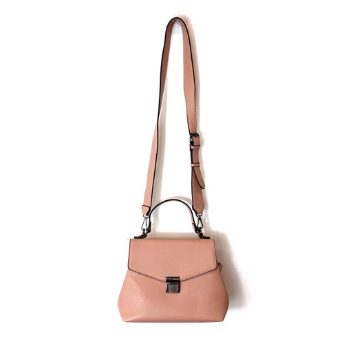 Vegan Leather Rose Top Handle Convertible Satchel- Front