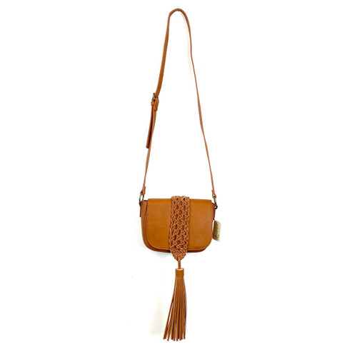 LP Blue Braided Tassel Accent Crossbody Bag- Thumbnail