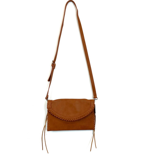 LP Blue Vegan Saddle Brown Whipstitch Crossbody Bag- Thumbnail
