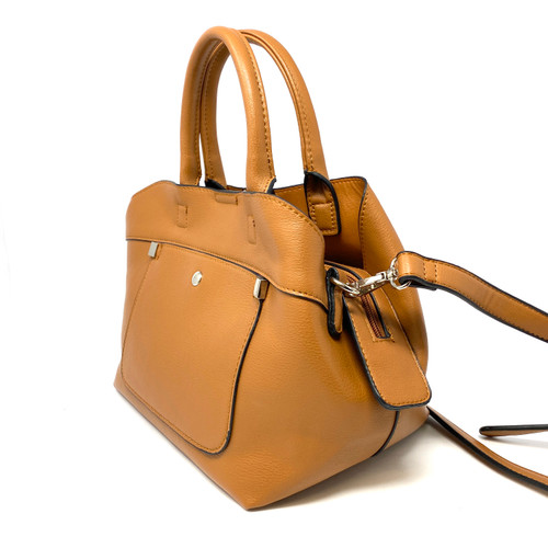 Saddle Brown Tri-Compartment Top Handle Satchel- Angle