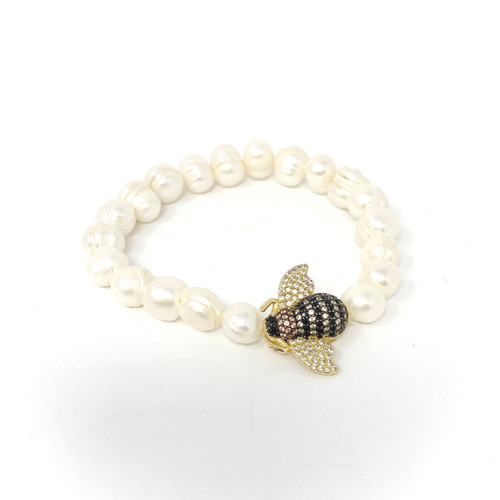 Bumble Bee and Pearl Bracelet- Thumbnail