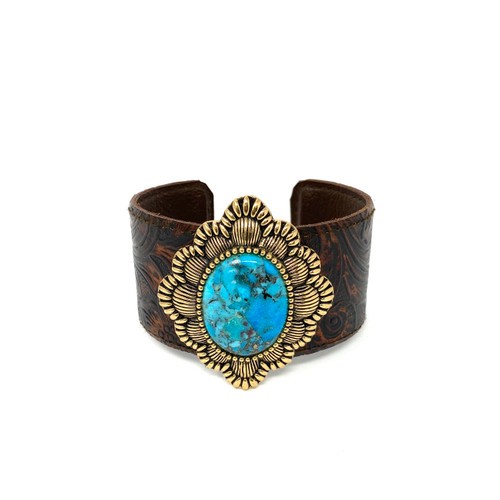 Vintage Leather and Turquoise Cuff- Thumbnail