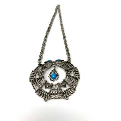 Abstract Owl Silver and Turquoise Pendant Necklace- Thumbnail