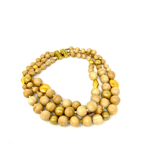 R. J. Graziano Wood and Gold Chunky Bead Necklace- Thumbnail