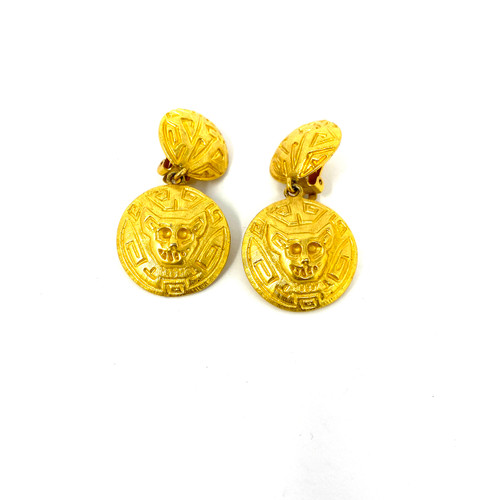 Jamie Simpson Feline Medallion Earrings- Front
