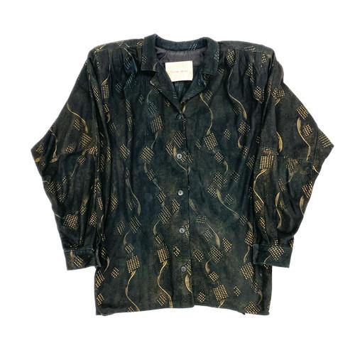 Vintage Cezar Chiano Printed Suede Jacket- Front
