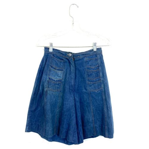 Vintage Distressed High-Waisted Denim Shorts- Front