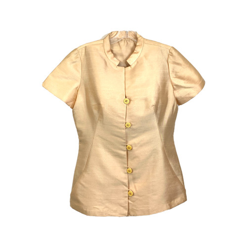 Vintage Tailored Raw Silk Mandarin Collar Top- Front