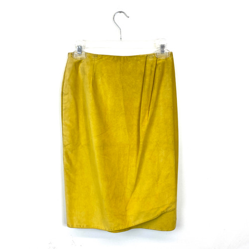 Vintage Wrap Front Suede Skirt- Front