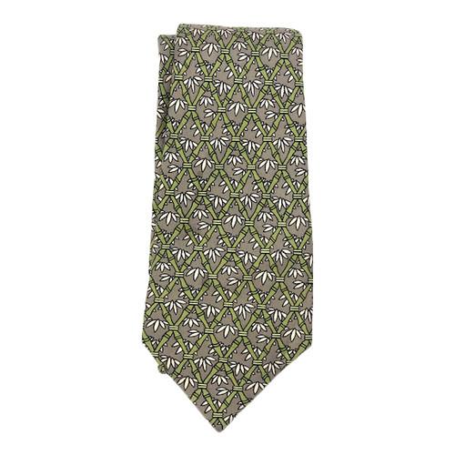 Hermès Interlocking Bamboo Motif Tie- Front